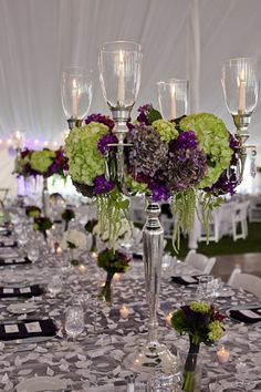 Beautiful candelabra and stunning colour combination