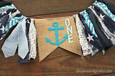 Nautical First Birthday Anchor Highchair Banner by AmpersandGO