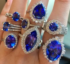 Tanzanite and Diamond Rings - May 11 2019 at Diamond Rings, Diamond Jewelry, Jewelry Rings, Jewelry Accessories, Fine Jewelry, Gemstone Rings, Jewelry Design, Sapphire Rings, Faberge Eier