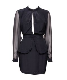 MAURIE AND EVE  rosie peplum dress | SHOP NOW > http://www.threadbare.co/collections/maurie-and-eve/products/rosie-peplum-dress #maurieandeve #sheer #peplum #cocktaildress #elegant #longsleeves