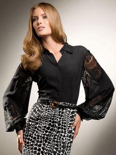 Black classic blouse wide sleeves with laces | Черная классическая блузка с широкими кружевными рукавами