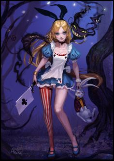 akcho alice alice_in_wonderland cheshire_cat cleavage dress thighhighs white_rabbit Dark Alice In Wonderland, Character Design, Fantasy Art, Alice Madness Returns, Art, Anime, Fairy Tales, Fantasy Girl, Dark Disney
