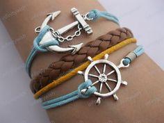 Bracelet-Sailing times bracelet,rudder bracelet,anchor bracelet