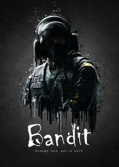 """Rainbow Six Siege Characters Bandit #Displate artwork by artist """"TraXim"""". Part of a 33-piece set featuring artwork based on characters from the popular Rainbow Six video game. £37 / $49 per poster (Regular size), £74 / $98 per poster (Large size) #RainbowSix #RainbowSixSiege #TomClancy #TomClancysRainbowSix #Rainbow6 #Rainbow6Siege #TomClancysRainbow6 #Ubisoft"""