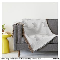 Silver Grey Star Wear White Blanket Throw Blanket