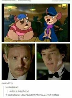 The Great Mouse Detective (I think) from Disney and Sherlock from BBC -> Love them both ^^ Sherlock Holmes, Sherlock Fandom, Sherlock Series, Sherlock John, Sherlock Cartoon, Sherlock Bored, Watch Sherlock, Sherlock Season, Jim Moriarty
