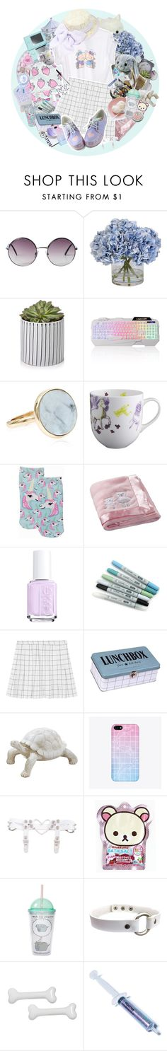 """""""Return later"""" by bandaidkid ❤ liked on Polyvore featuring Monki, Ethan Allen, Nintendo, Accessorize, Living Royal, Carter's, Essie, Mason's, House Doctor and SANRIO"""