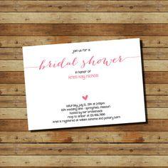 Modern, Simple, Coral Bridal Shower Invitation (digital file)