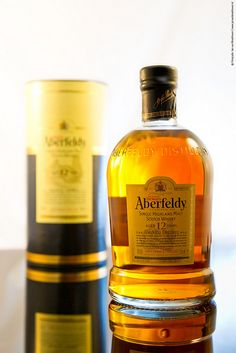 Aberfeldy single malt, aged twelve years — our go-to for late nights in the office