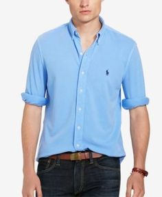 Polo Ralph Lauren Men's Featherweight Mesh Shirt - Navy S