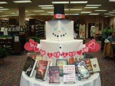 library display - snowman created from paper-wrapped cubes
