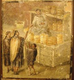 Fresco found in Pompeii depicting ancient Roman bakery. Ancient Pompeii, Pompeii And Herculaneum, Pompeii Italy, Rome Antique, Art Antique, Ancient Roman Food, Art Romain, Empire Romain, Roman History