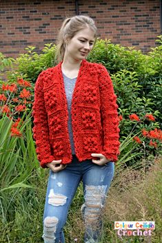 Pick your favorite shade for this easy crochet granny square cardigan which provides surface interest through bobble stitches that look great even when made all in one color. The pattern is free, it comes in 9 sizes & includes a YouTube video as well. Double Crochet, Easy Crochet, Single Crochet, Free Crochet, Crochet Top, Crochet Granny, Crochet Cardigan Pattern, Crochet Jacket, Crochet Patterns