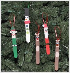 Popsicle Stick Christmas Ornaments holiday crafts for kids I have these from my older kids (school projects. Kids Crafts, Christmas Crafts For Kids To Make, Preschool Christmas, Christmas Activities, Kids Diy, Easy Crafts, Stick Christmas Tree, Christmas Ornaments To Make, Christmas Projects