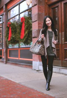 "BOBEAU FLEECE CARDIGAN in ""mink,"" H&M leggings (old), Kenneth Cole petite sweater (old) BLANK NYC JACKET, STUART WEITZMAN boots"