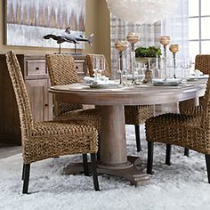 love the #rattan chairs! Liked @ www.homescapes-sd.com #staging San Diego home stager (760) 224-5025