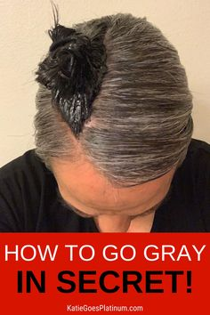 Are you ready to go gray but don't want the world to know? Learn how to go gray in secret with the Dye Strip Technique. It's the best way for dark brunettes to go gray gracefully, but it works for redheads and blondes as well. With the Dye Strip technique, you can secretly grow out gray hair and only reveal it to the world when you are ready to show off your fabulous silvers! If you're wondering how to go gray with dark hair, with no demarcation line, this method is for you! Gray Hair Growing Out, Grow Hair, Silver Hair Highlights, Grey Hair Transformation, Curly Hair Styles, Natural Hair Styles, Dark Brunette Hair, Transition To Gray Hair, Hair Due