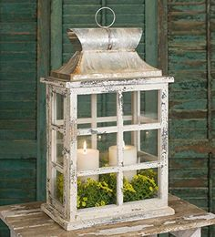 Large Windowpane Lantern has a door on the side that closes with a latch. The gorgeous distressed finish will complement your country, rustic or farmhouse decor. Shown with two diameter candles. Candles are not included. Shabby Chic Bedrooms, Shabby Chic Homes, Shabby Chic Decor, Rustic Decor, Farmhouse Decor, Farmhouse Style, Rustic Style, Rustic Wood, Lantern Centerpieces