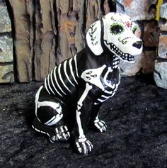 Day of the Dead Painted Sugar Skull Dog Statue Puppy Figurine Dia De Los Muertos