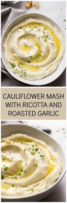 Keto Cauliflower Mash Recipe with Ricotta and Roasted Garlic