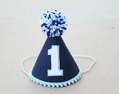 Boys 1st Birthday Navy and Baby Blue Felt Small Party Hat - Boys First Birthday Party Hat