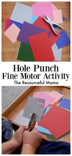 Hole Punch Fine Motor Activity - Preschool Fine Motor Activities - Hole Punch Fine Motor Activity for young kids preschoolers and kindergartners - Preschool Fine Motor Skills, Fine Motor Activities For Kids, Motor Skills Activities, Gross Motor Skills, Montessori Activities, Preschool Learning, In Kindergarten, Learning Activities, Toddler Activities
