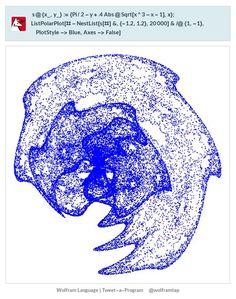 s@{x_,y_}:={Pi/2-y+.4Abs@Sqrt[x^3-x-1],x};ListPolarPlot[#-NestList[s[#]&,{-1.2,1.2},20000]&/@{1,-1},PlotStyle->Blue,Axes->False]