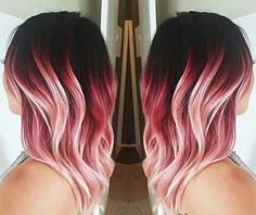 Red and pink hair with light cool blonde