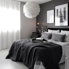 There's something so classy about grey in interior design. Room Ideas Bedroom, Home Decor Bedroom, Modern Bedroom, Black Bedroom Decor, Black Interior Design, Nordic Interior, Online Furniture Stores, Furniture Shopping, Aesthetic Bedroom