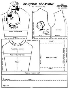 Sewing Forums: My cousin Bécassine - Doll Clothes Patterns, Sewing Clothes, Doll Patterns, Clothing Patterns, Sewing Patterns, Antique Dolls, Vintage Dolls, Doll Costume, Costumes