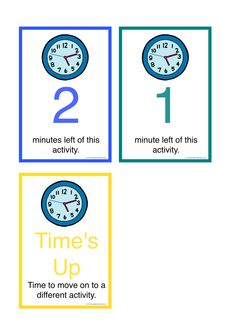 Time Countdown Cards. Gives children with Autism a visual understanding of how long it is until an activity is going to stop and a new one begin. Designed to be laminated, cut out and worn around the neck of a teacher, on a lanyard. Part 2 of a set of 2. FREE Download.
