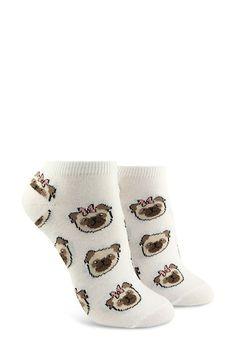 d036e6fe5fd Bow Tie Pug Print Ankle Socks