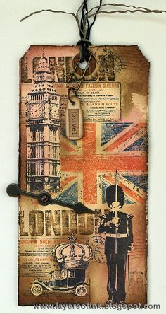 Layers of ink: 12 tags of 2013 August. London Tag, made with Stampers Anonymous Tim Holtz stamps, Ranger inks and a Sizzix die. Atc Cards, Card Tags, Gift Tags, Tim Holtz Stamps, Stampers Anonymous, Ranger Ink, Handmade Tags, Paper Tags, Mix Media