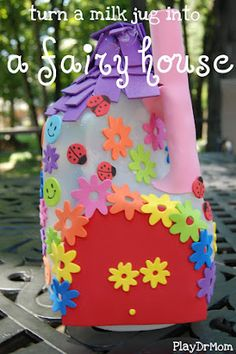 Make a fairy house from a recycled milk jug.