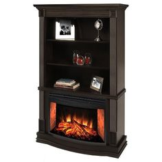 Amazon.com: Muskoka Picton Electric Fireplace with curved firebox and bookshelves: Home & Kitchen