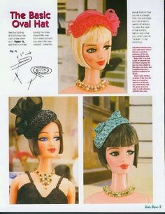 doll hats Herbie's Doll Sewing, Knitting & Crochet Pattern Collection: Barbie Bazaar - Sewing Patterns for Vintage Style Barbie Hats Crochet Barbie Clothes, Sewing Doll Clothes, Sewing Dolls, Doll Clothes Patterns, Skirt Patterns, Coat Patterns, Dress Sewing, Blouse Patterns, Clothing Patterns