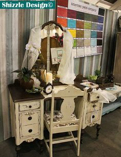 Vintage Vanity refinished in chalk and clay paints — Shizzle Design  http://shizzle-design.com/2014/03/highlights-from-our-experience-at-west-michigans-womens-expo.html