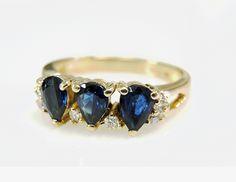 Like three pears in a pod.  #vintage #sapphire #diamond