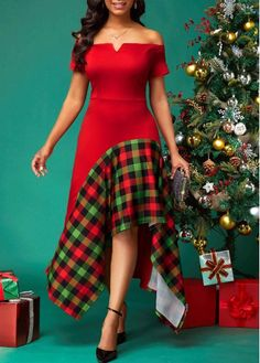 V Bar Side Zipper Plaid Print Dress - Women's Fashion Trends Red Dress Outfit, Plaid Dress, Dress Outfits, Casual Dresses, Short Dresses, Trendy Dresses, Outfit Night, Dresses Dresses, African Fashion Dresses