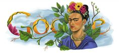 Frida Kahlo's 103rd Birthday [103 года со дня рождения Фриды Кало]. By Jennifer Hom /This doodle was shown: 06.07.2010 /Countries, in which doodle was shown: United Kingdom, United States