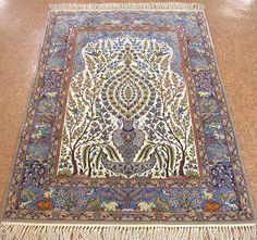 4 x 5 PERSIAN ISFAHAN Hand Knotted Wool Silk PRAYER TREE OF LIFE IVORY NEW Rug #Unbranded #PersianIsfahanPrayerTreeofLifeAnimals