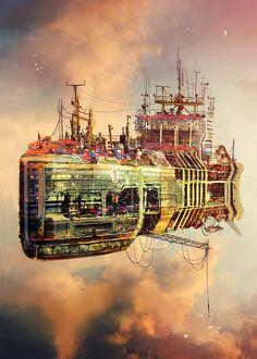 "siryl:    ""Big Rusty Flying Town Ship"" by Maciej Rebisz."