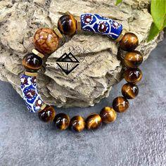 Blue n Brown Serenity Men's Tiger Eye Bracelet, Gemstone bracelet, Unisex Stretch bracelet, African bracelet