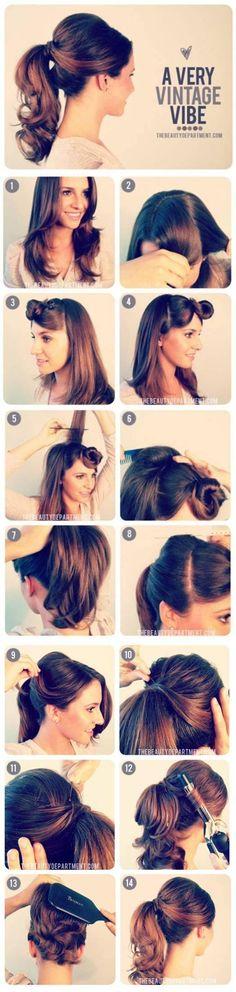 How to DIY hair hair style fashion penteados. Vintage style The post How to DIY hair hair style fashion penteados. Vintage style appeared first on Hair Styles. Hair Hacks, Hair Tips, Pretty Hairstyles, Wedding Hairstyles, Diy Hairstyles, Easy Hairstyle, 1950s Hairstyles, Hairstyle Ideas, Hair Updo