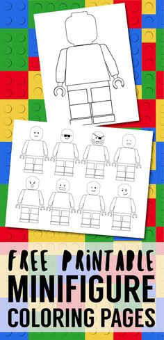 Free Printable Lego Coloring Pages. Free lego minifigure coloring pages for a lego birthday party. Blank lego page to draw your own face. #papertraildesign #freeprintables #lego #coloringpages #birthdayparty