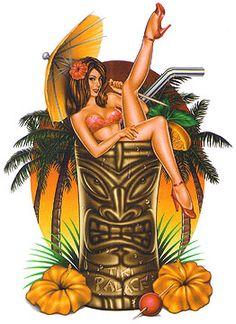 Gifs Bonjour Page 20 - Modern Décor Tiki, Tiki Art, Tiki Tattoo, Hawaiian Art, Hawaiian Tattoo, Hawaiian Girls, Hawaiian Decor, Bon Week End Image, Pin Up Kunst
