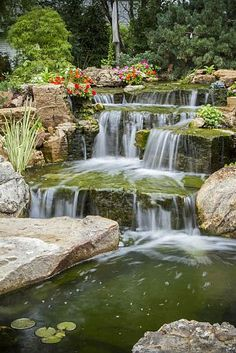backyard oasis with pond and waterfalls, gardening, outdoor living, ponds water features, A close up view of careful rock placement creating a natural looking waterfall Backyard Water Feature, Ponds Backyard, Garden Pool, Backyard Waterfalls, Koi Ponds, Easy Garden, Backyard Ideas, Landscape Design, Garden Design