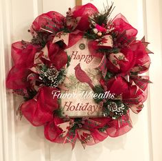 A personal favorite from my Etsy shop https://www.etsy.com/listing/470406500/christmas-wreath-cardinal-christmas