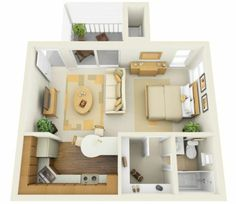 Superb Cool Studio Apartment Layout And Plan Design In Rendering With Open Floor  Concept Of Living Room And Bedroom And Kitchen Completed With Front Porch    Use ...