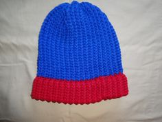 Men's Philadelphia Phillies Team Colors Beanie.  The Top and Rim are both Loops & Threads Impeccable yarn.  The Top is Royale and Rim is Cherry.